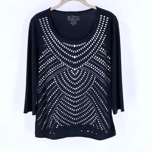 CHICO'S Black White Cut-Out Jersey Top Size 1/L